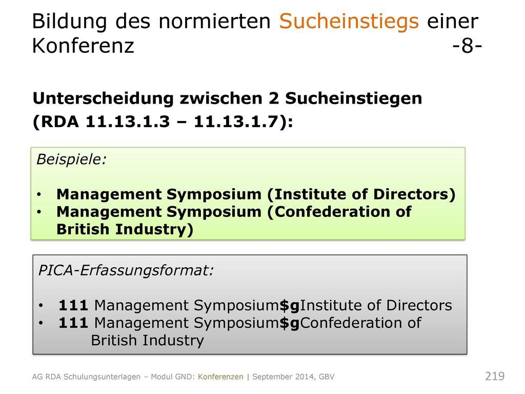 Bildung des normierten Sucheinstiegs einer Konferenz -8-