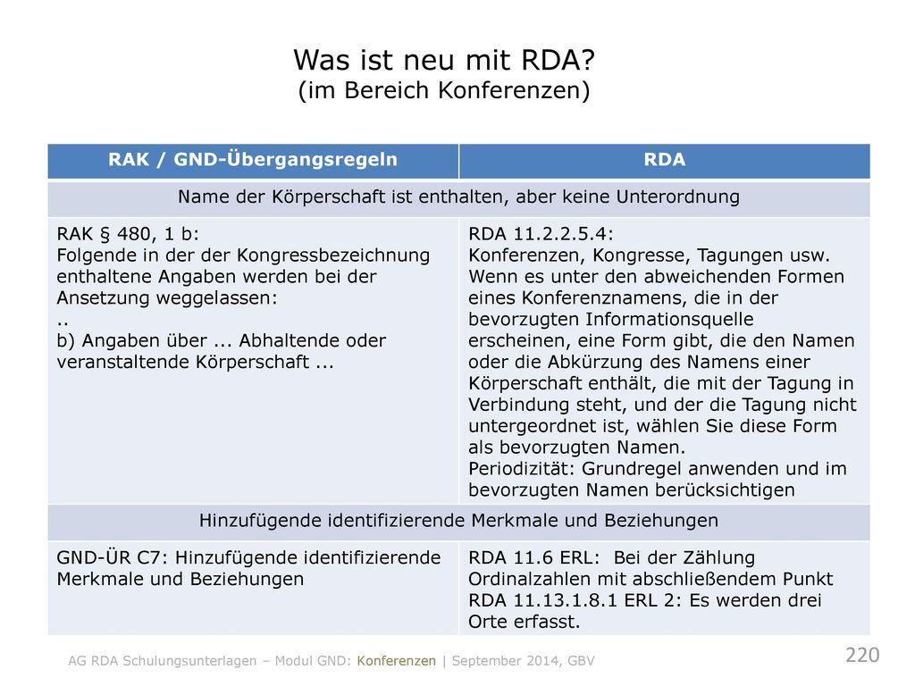 Was ist neu mit RDA (im Bereich Konferenzen)