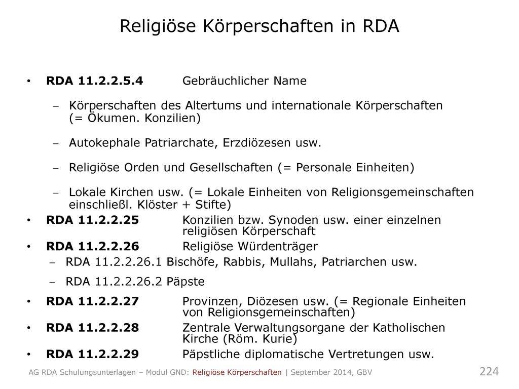 Religiöse Körperschaften in RDA