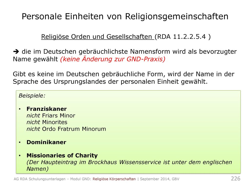 Personale Einheiten von Religionsgemeinschaften