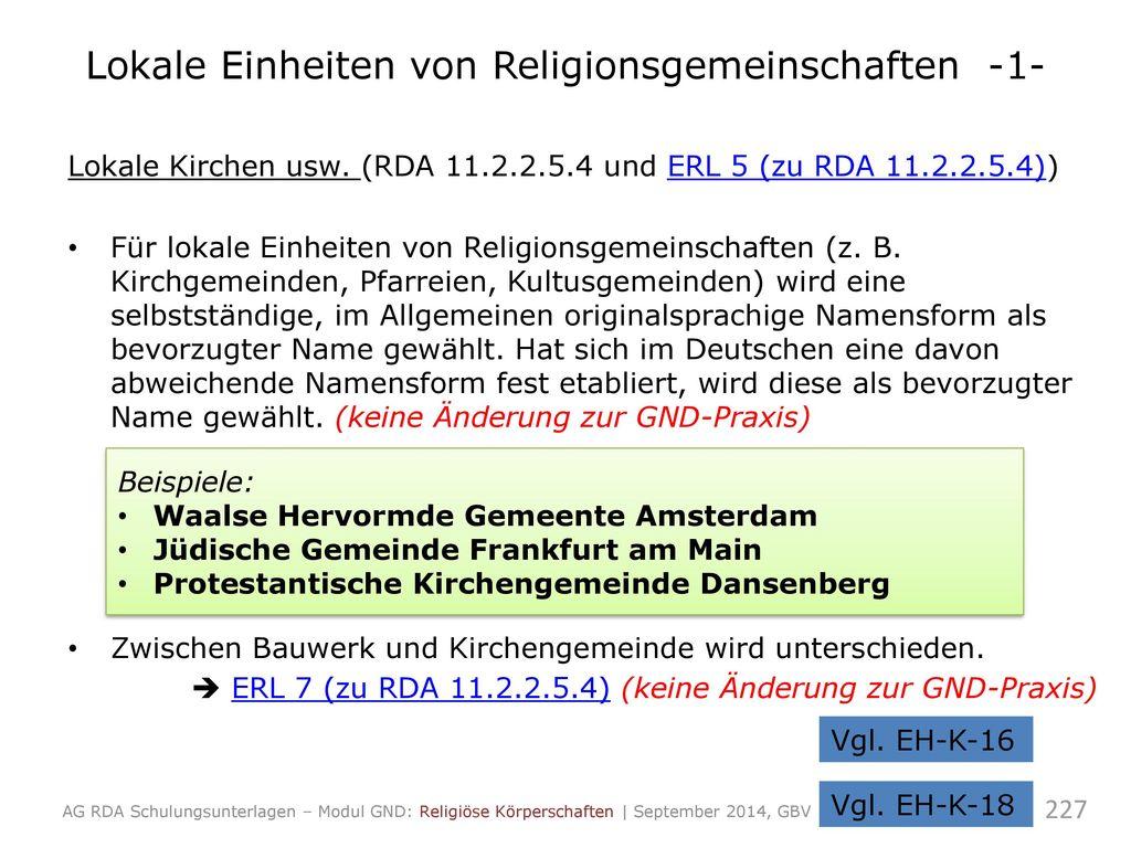 Lokale Einheiten von Religionsgemeinschaften -1-