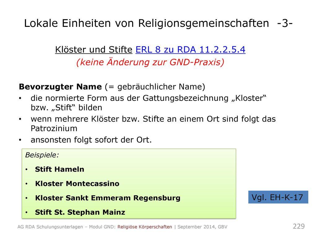 Lokale Einheiten von Religionsgemeinschaften -3-