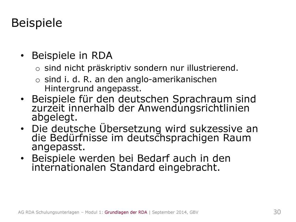 Beispiele Beispiele in RDA
