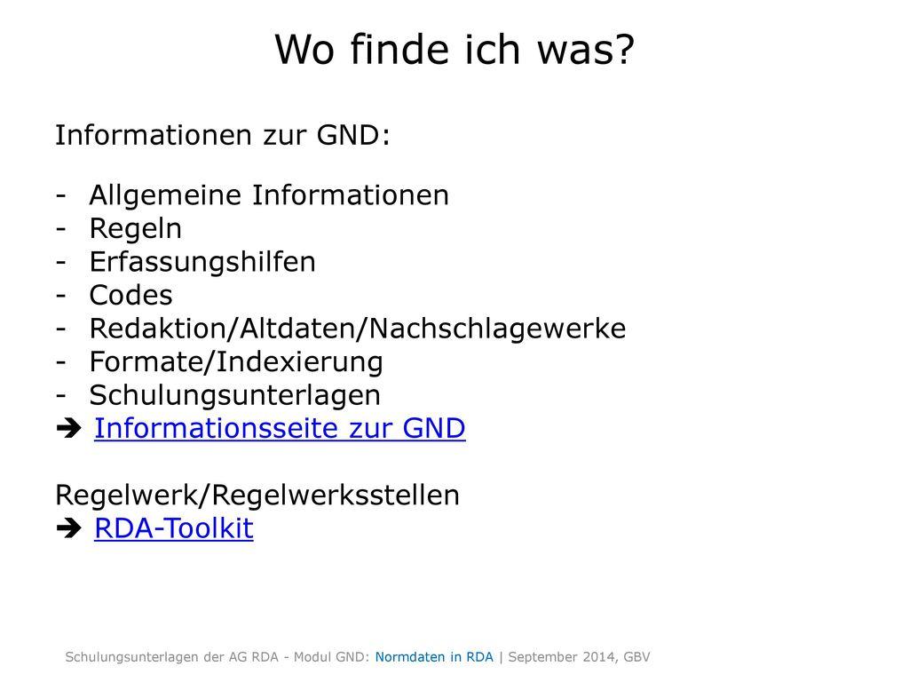 Wo finde ich was Informationen zur GND: Allgemeine Informationen