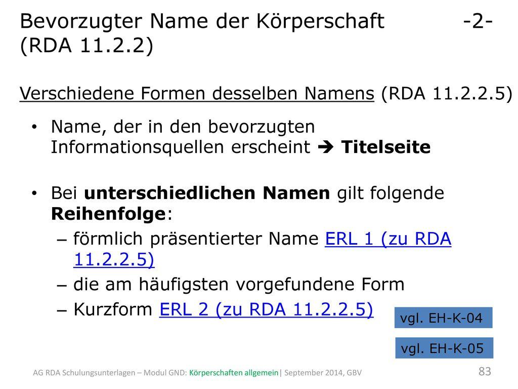 Bevorzugter Name der Körperschaft -2- (RDA 11.2.2)