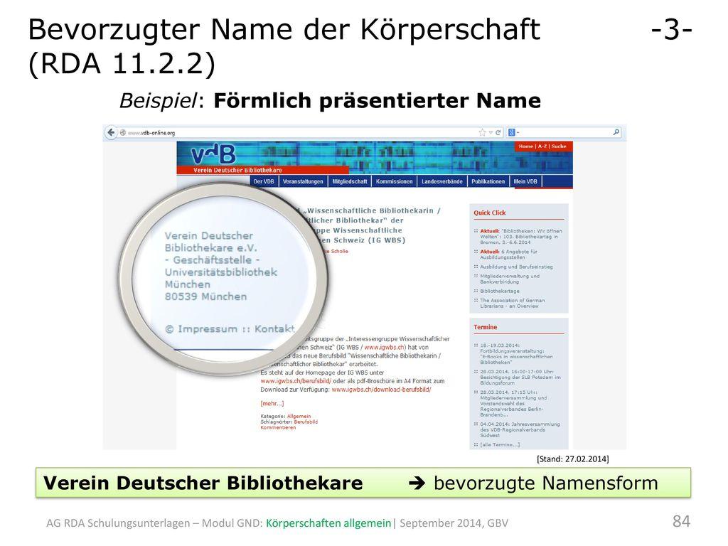 Bevorzugter Name der Körperschaft -3- (RDA 11.2.2)