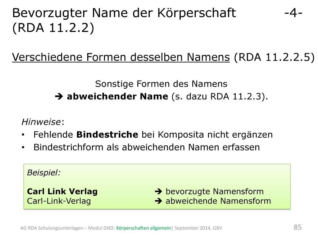 Bevorzugter Name der Körperschaft -4- (RDA 11.2.2)