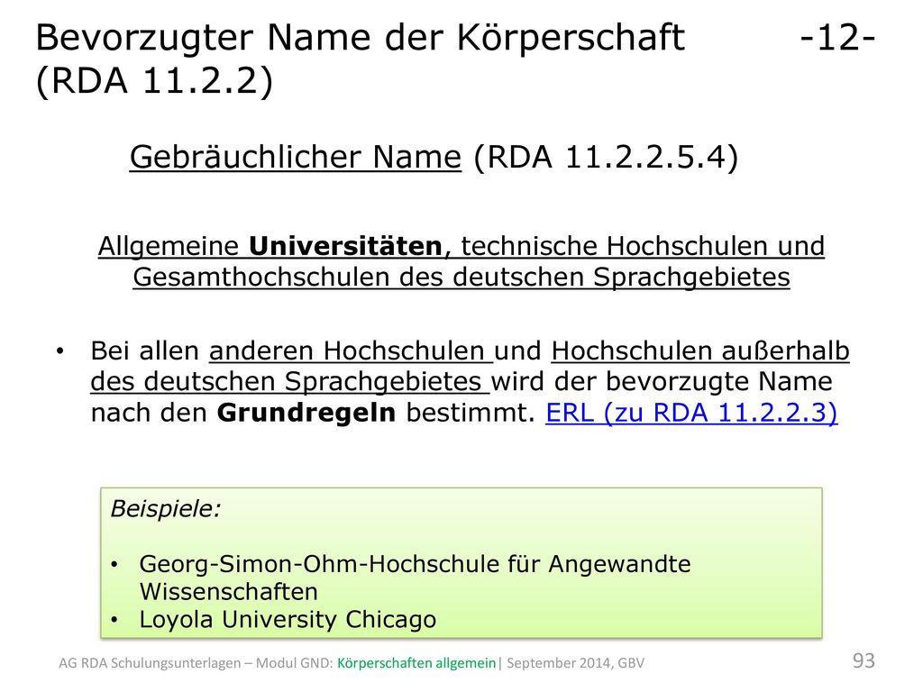 Bevorzugter Name der Körperschaft -12- (RDA 11.2.2)