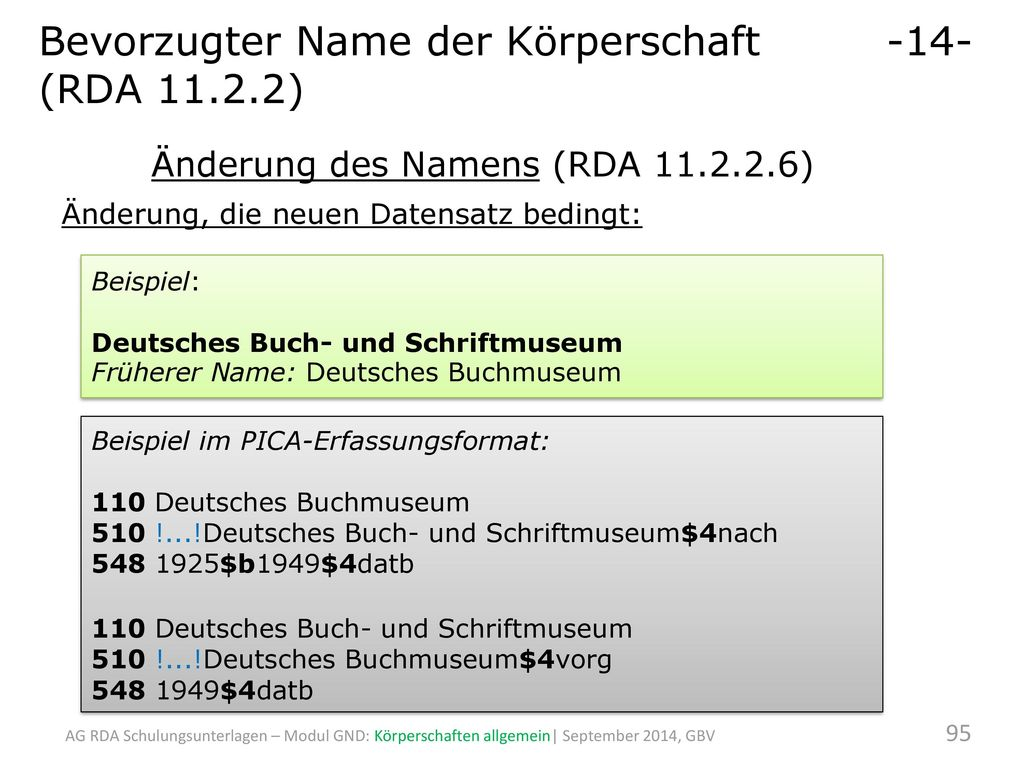Bevorzugter Name der Körperschaft -14- (RDA 11.2.2)