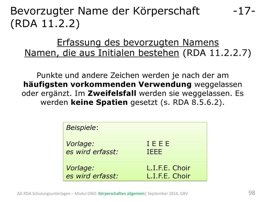 Bevorzugter Name der Körperschaft -17- (RDA 11.2.2)