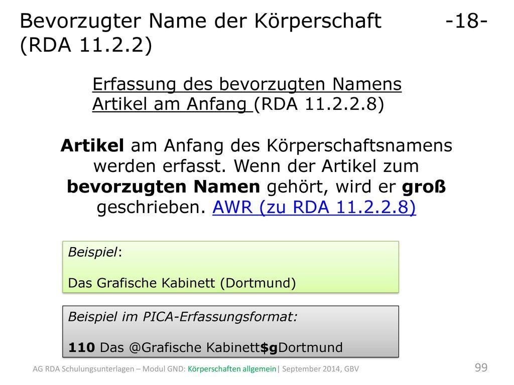 Bevorzugter Name der Körperschaft -18- (RDA 11.2.2)