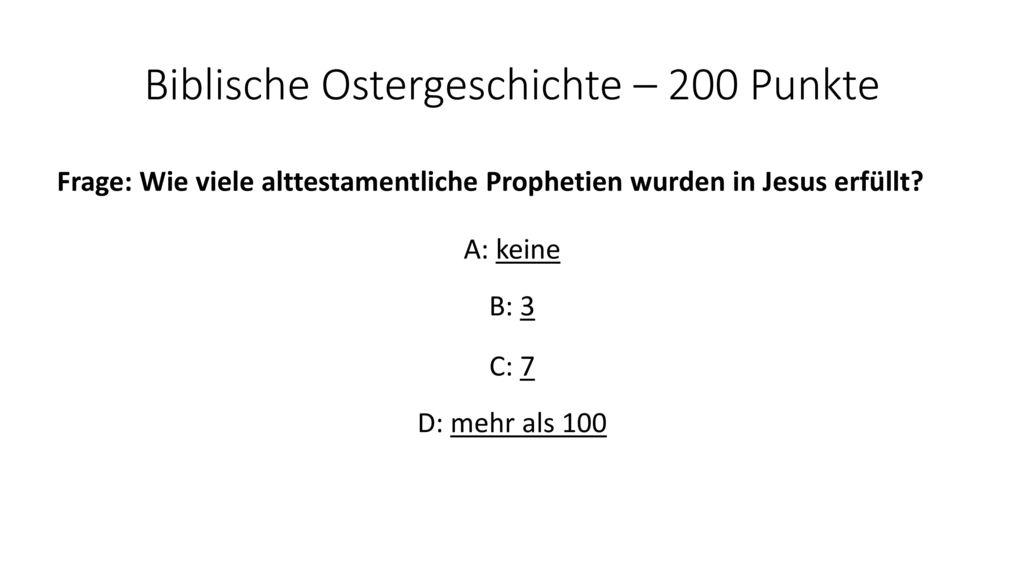Biblische Ostergeschichte – 200 Punkte