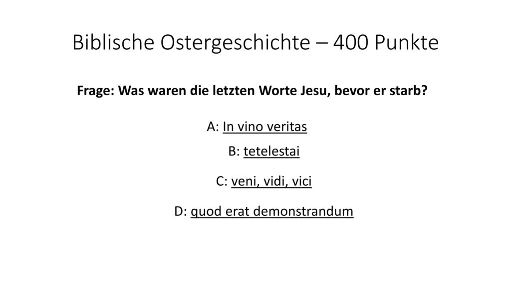 Biblische Ostergeschichte – 400 Punkte