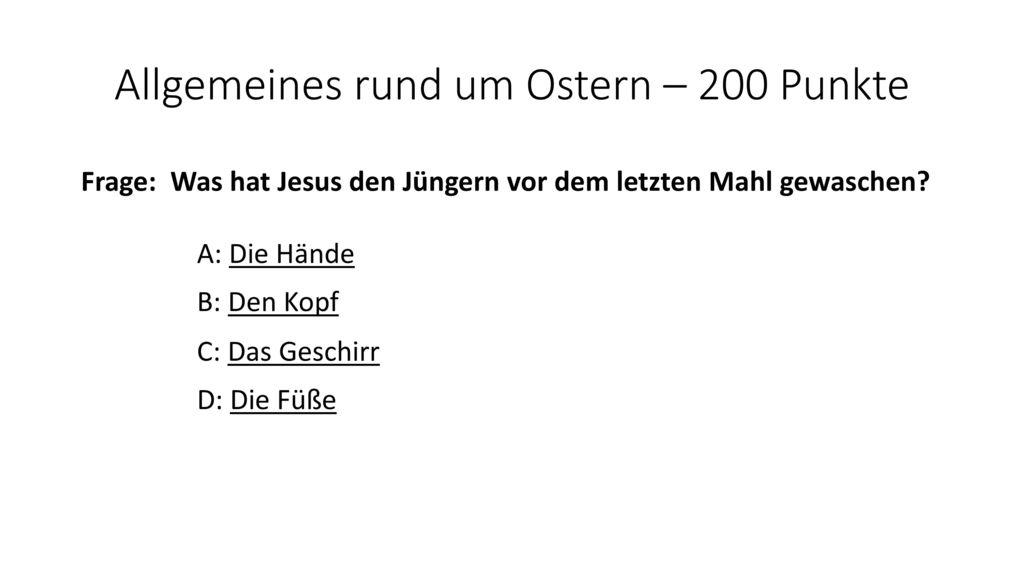 Allgemeines rund um Ostern – 200 Punkte