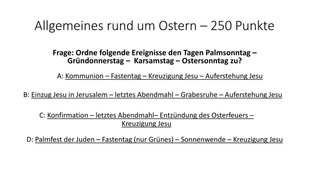 Allgemeines rund um Ostern – 250 Punkte
