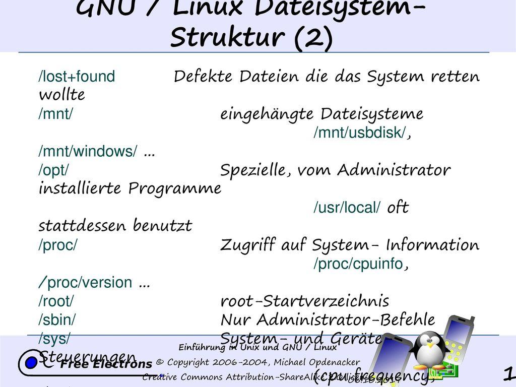 GNU / Linux Dateisystem- Struktur (2)
