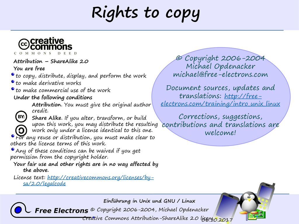 Rights to copy © Copyright 2006-2004 Michael Opdenacker michael@free-electrons.com.