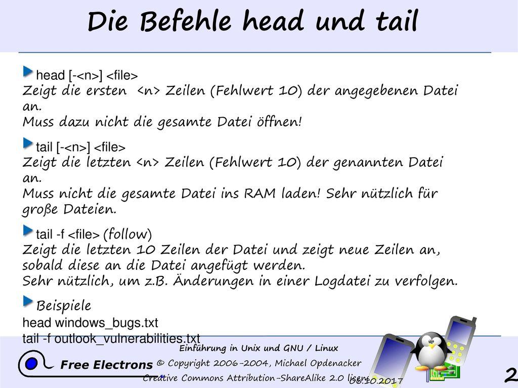 Die Befehle head und tail
