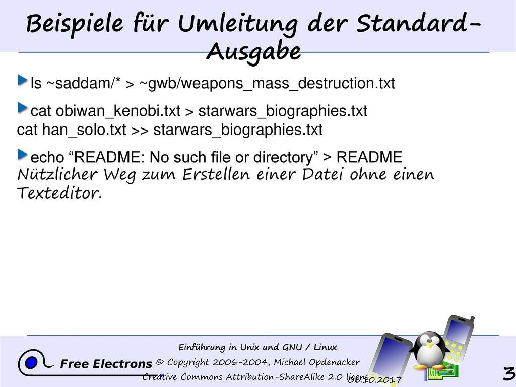 Beispiele für Umleitung der Standard-Ausgabe
