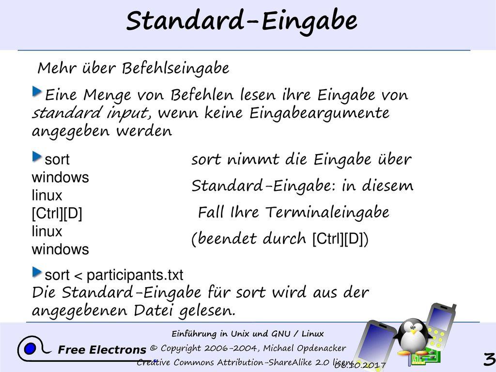 Standard-Eingabe Mehr über Befehlseingabe