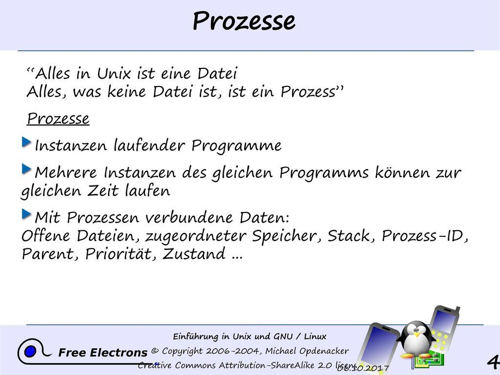 Prozesse Alles in Unix ist eine Datei Alles, was keine Datei ist, ist ein Prozess Prozesse. Instanzen laufender Programme.