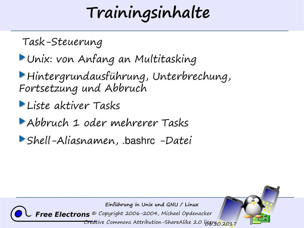 Trainingsinhalte Task-Steuerung Unix: von Anfang an Multitasking
