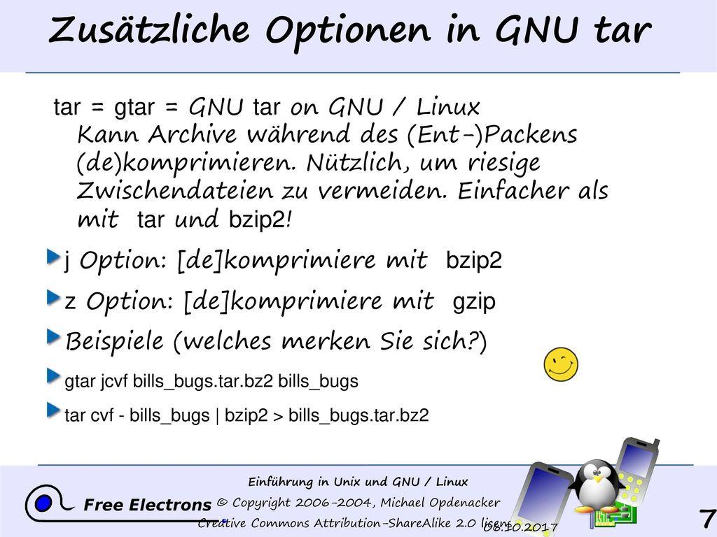 Zusätzliche Optionen in GNU tar