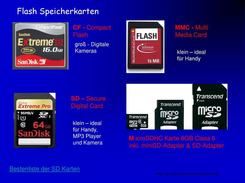 Flash Speicherkarten CF - Compact Flash MMC - Multi Media Card