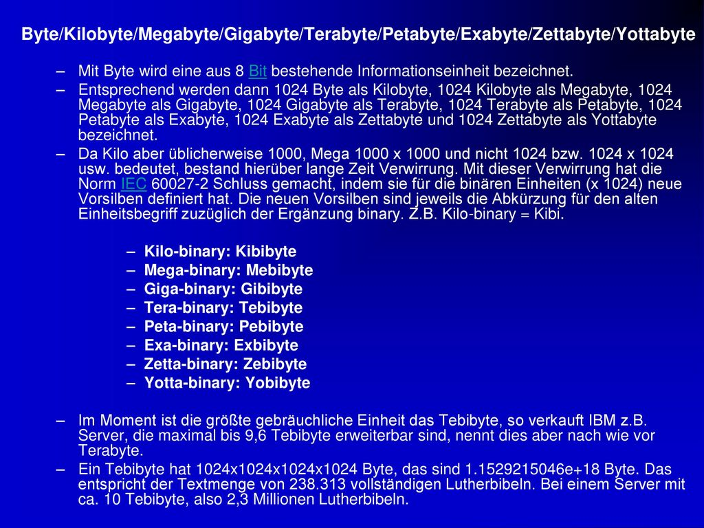 Byte/Kilobyte/Megabyte/Gigabyte/Terabyte/Petabyte/Exabyte/Zettabyte/Yottabyte