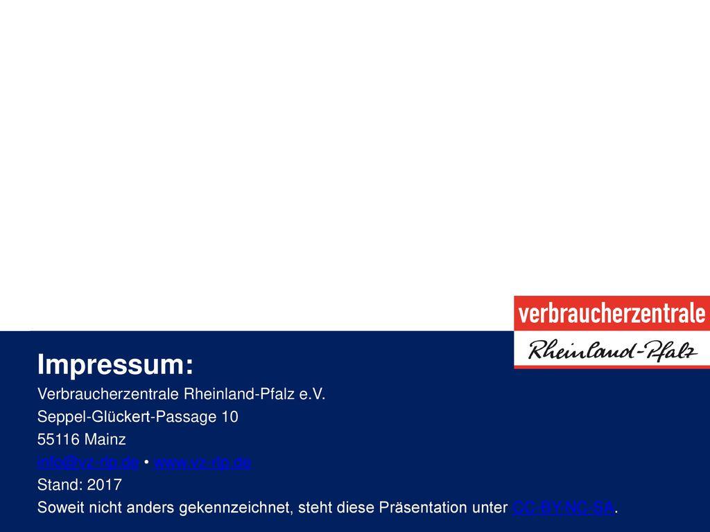 Impressum: Verbraucherzentrale Rheinland-Pfalz e.V.