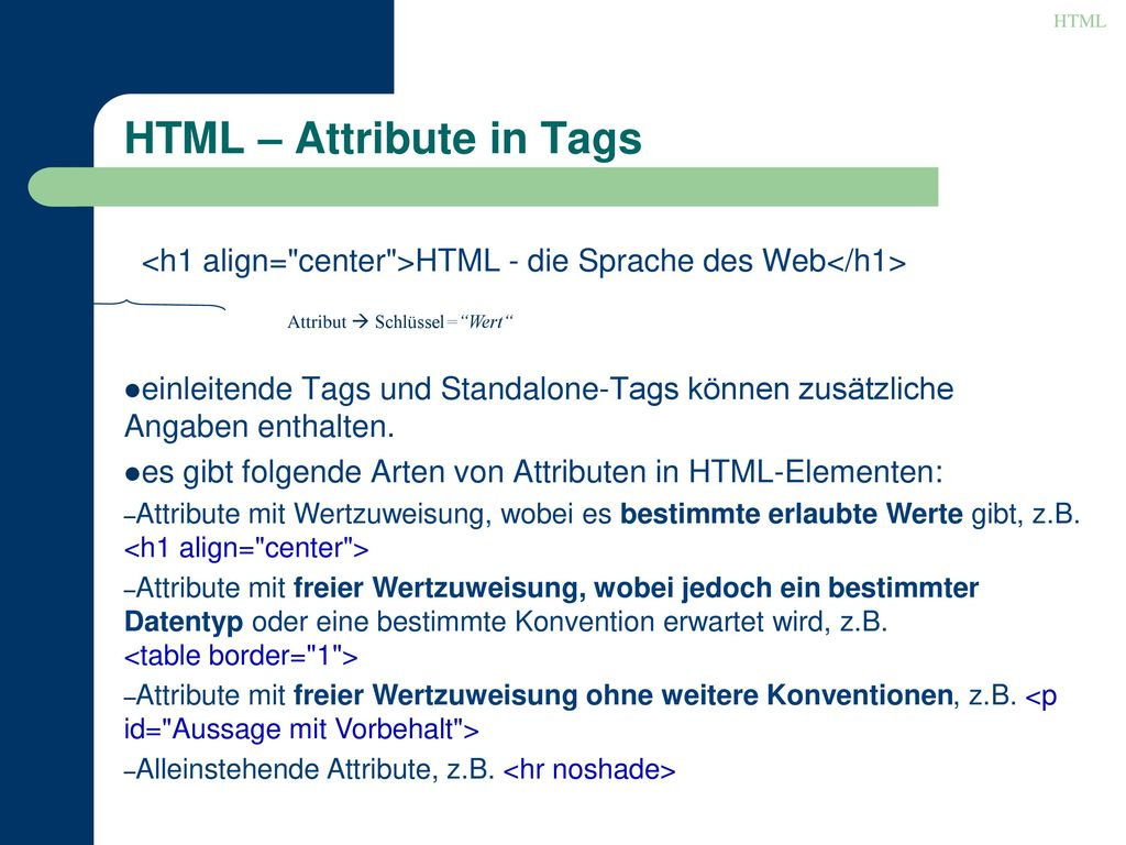 HTML – Attribute in Tags