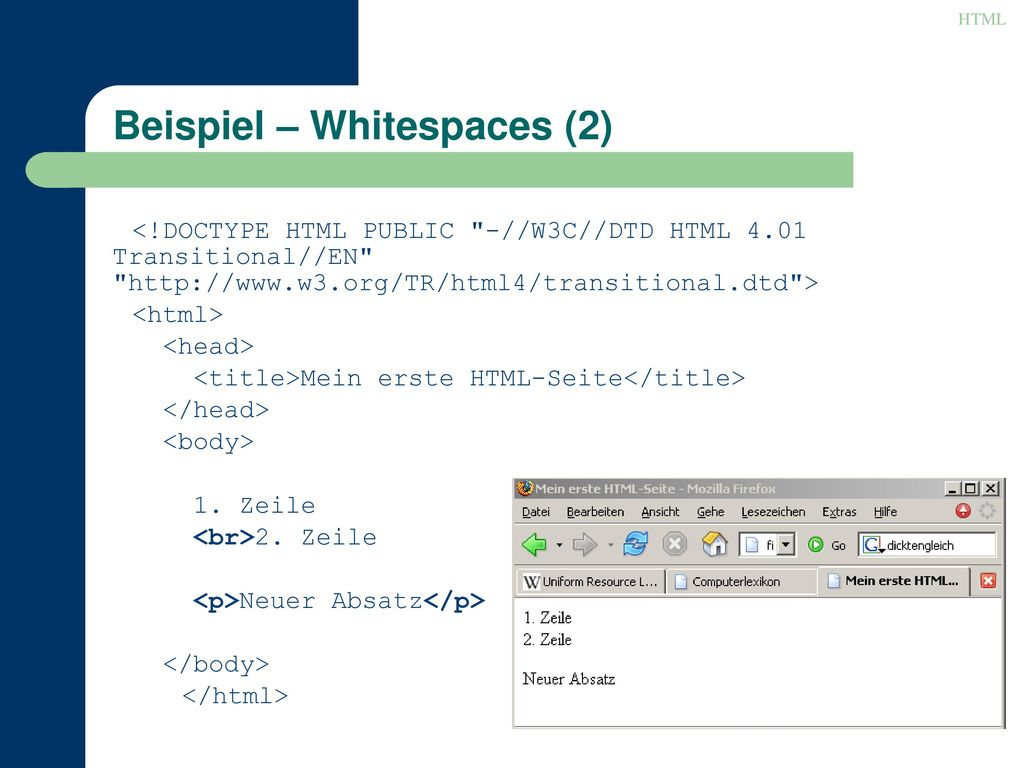 Beispiel – Whitespaces (2)