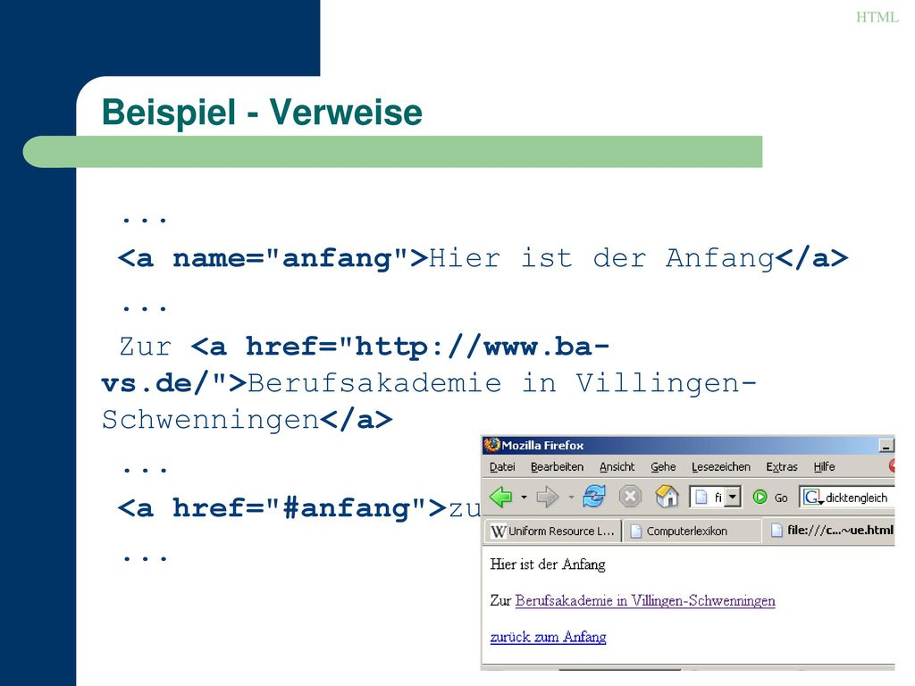 HTML Beispiel - Verweise. ... <a name= anfang >Hier ist der Anfang</a>