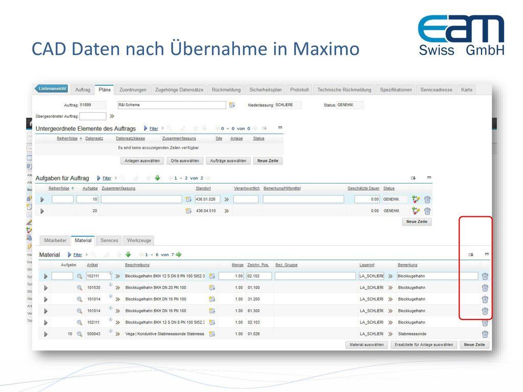 CAD Daten nach Übernahme in Maximo