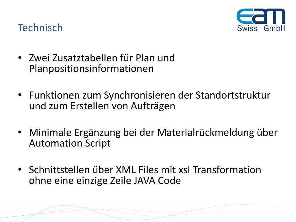 Technisch Zwei Zusatztabellen für Plan und Planpositionsinformationen