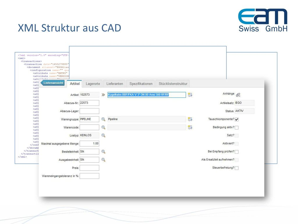 XML Struktur aus CAD