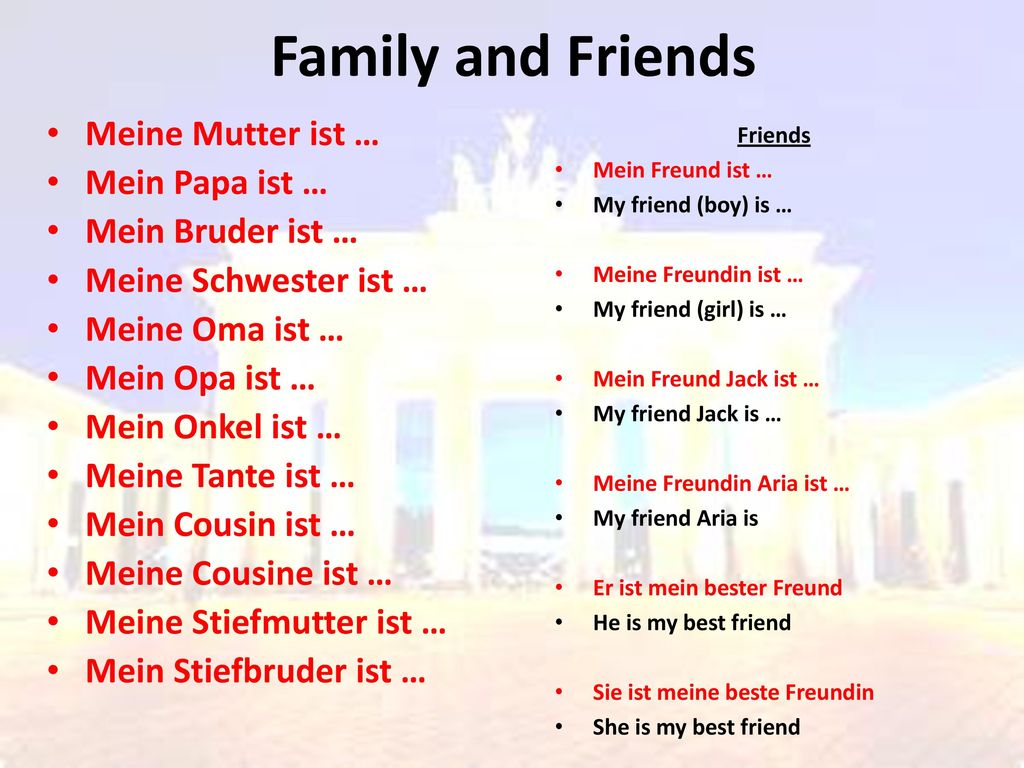 Family and Friends Meine Mutter ist … Mein Papa ist …