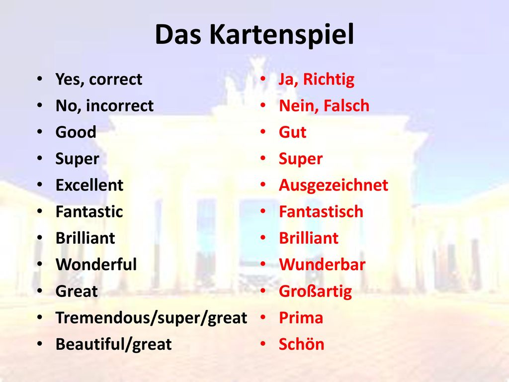 Das Kartenspiel Yes, correct No, incorrect Good Super Excellent