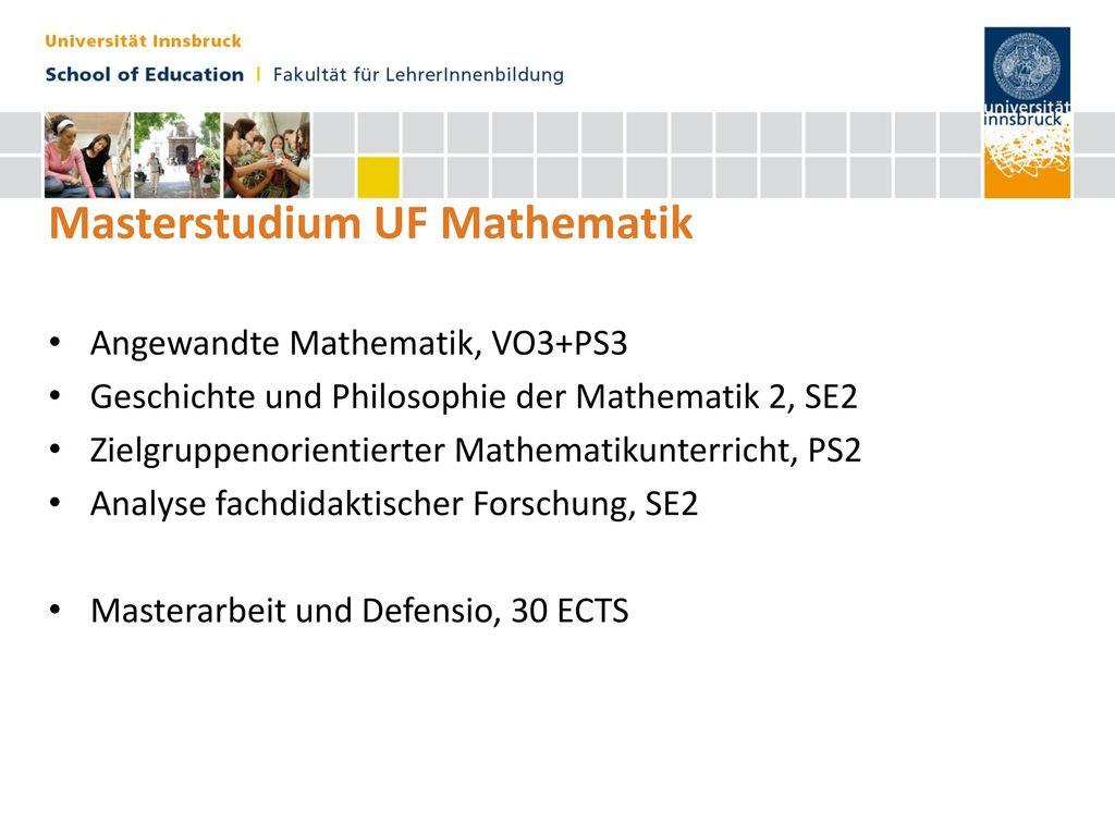 Masterstudium UF Mathematik