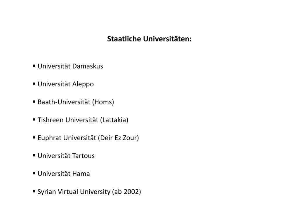 Staatliche Universitäten: