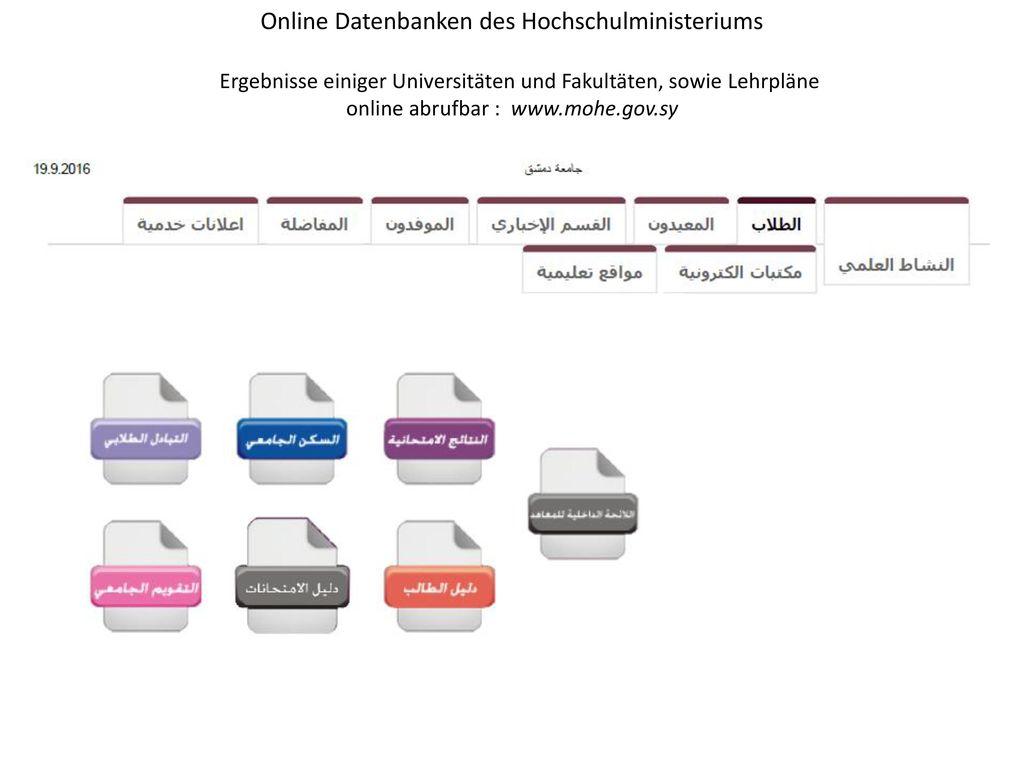 Online Datenbanken des Hochschulministeriums