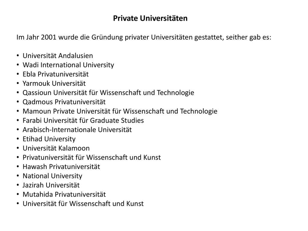Private Universitäten