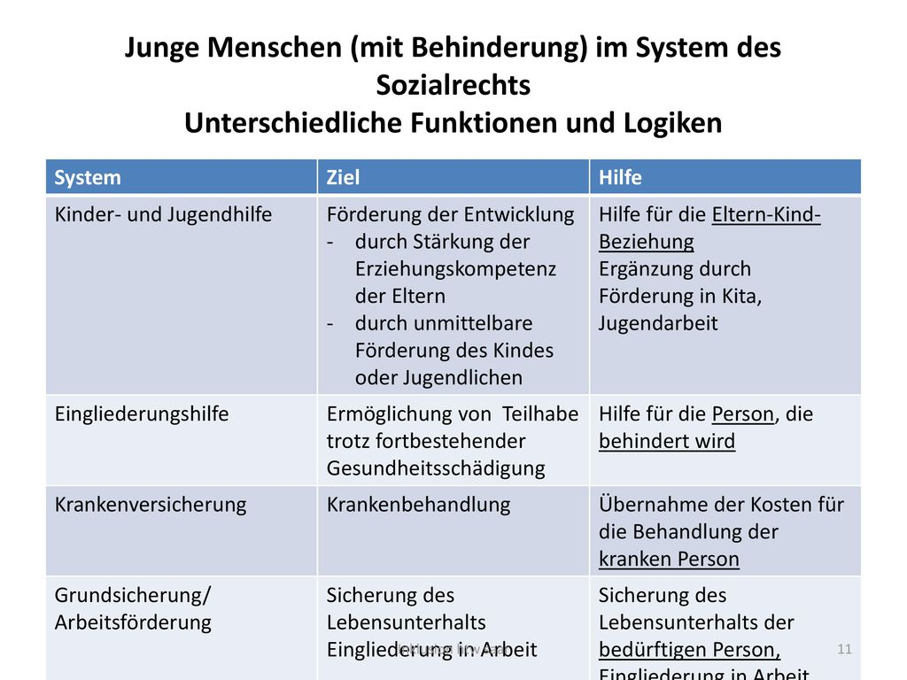 Junge Menschen (mit Behinderung) im System des Sozialrechts Unterschiedliche Funktionen und Logiken
