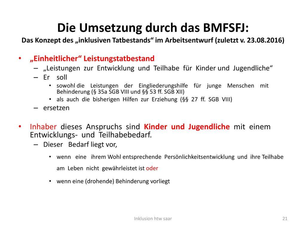 """Die Umsetzung durch das BMFSFJ: Das Konzept des """"inklusiven Tatbestands im Arbeitsentwurf (zuletzt v. 23.08.2016)"""