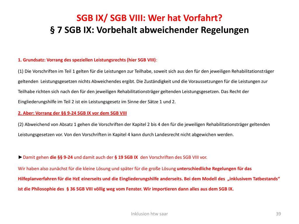 SGB IX/ SGB VIII: Wer hat Vorfahrt