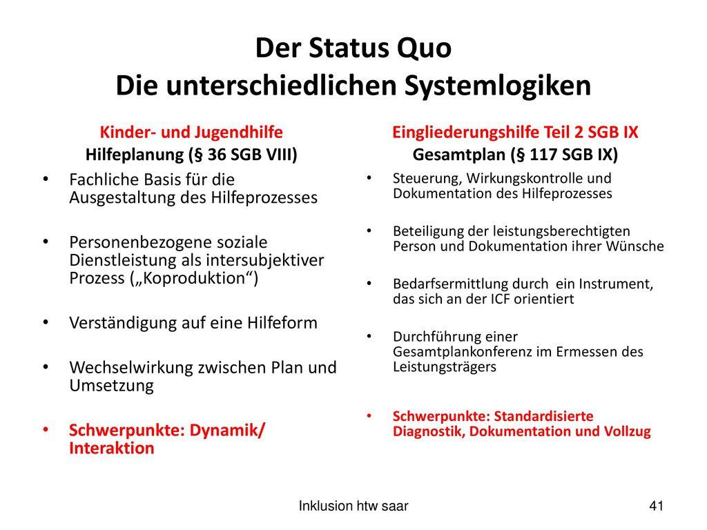 Der Status Quo Die unterschiedlichen Systemlogiken