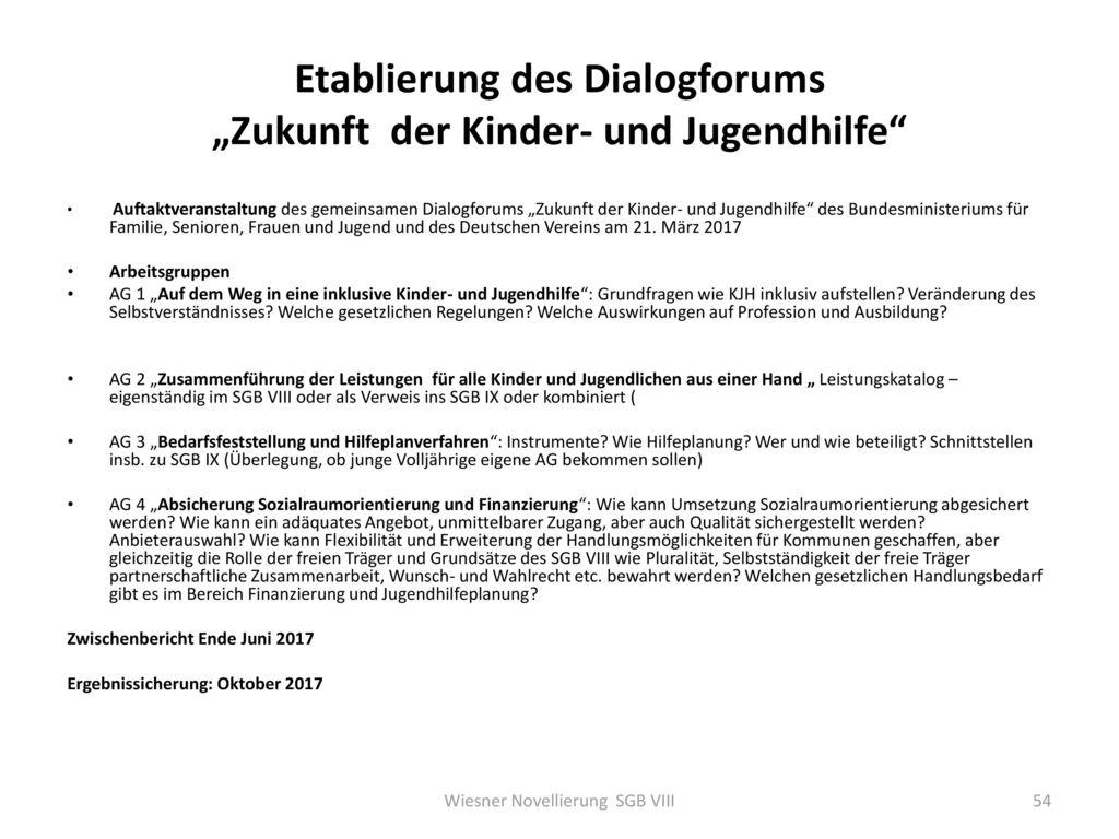 """Etablierung des Dialogforums """"Zukunft der Kinder- und Jugendhilfe"""