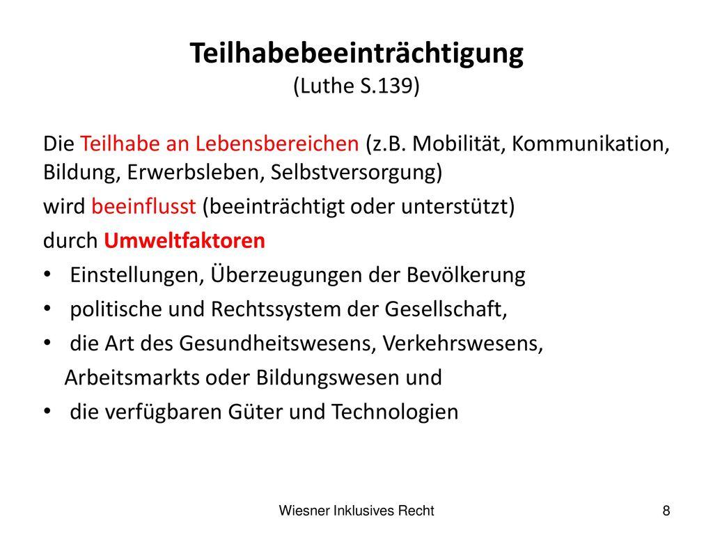 Teilhabebeeinträchtigung (Luthe S.139)
