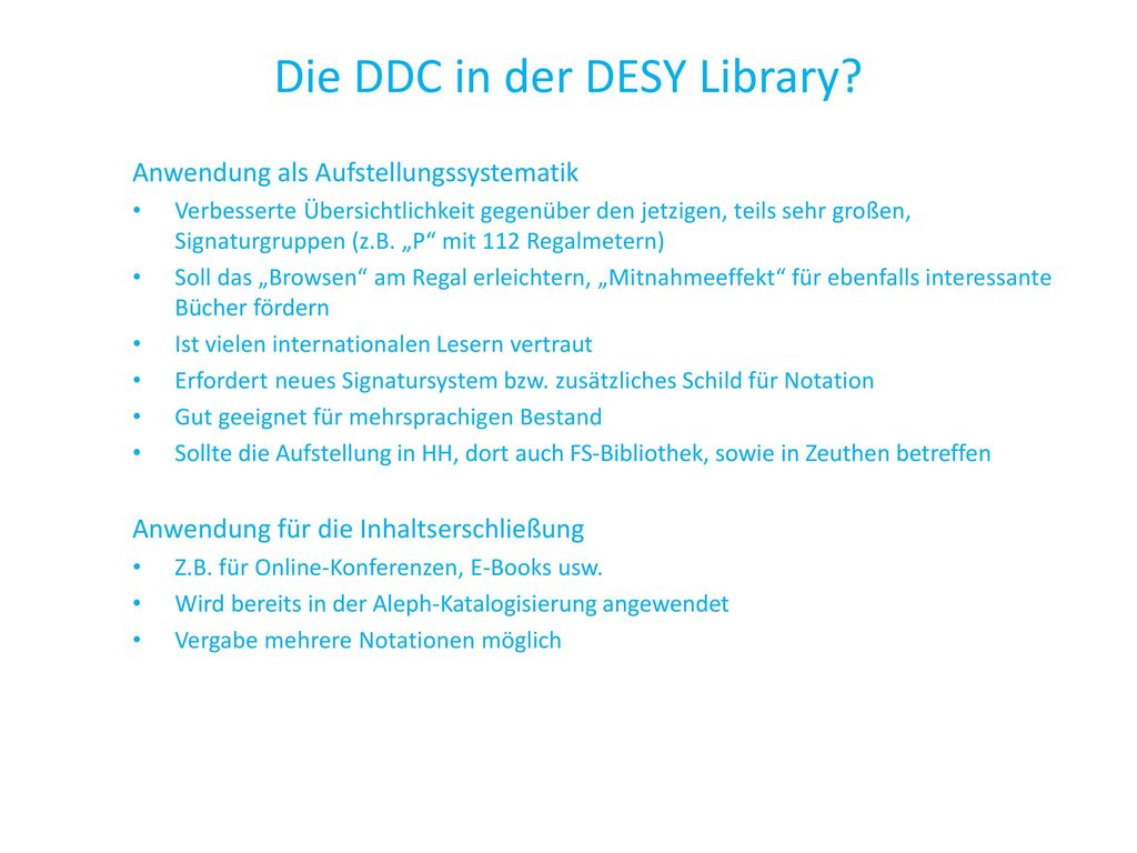 Die DDC in der DESY Library
