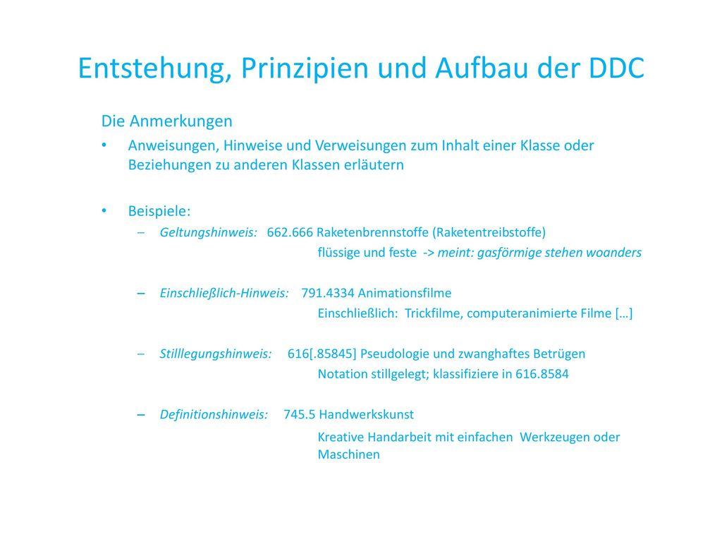 Entstehung, Prinzipien und Aufbau der DDC